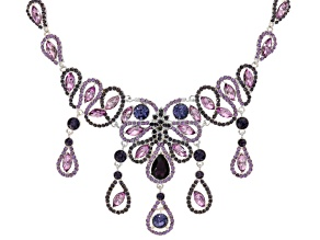 Multicolor Crystal Silver Tone Statement Necklace