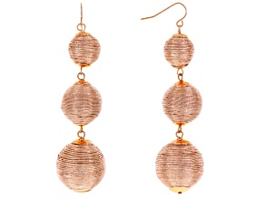 Pink Metallic Textile Beads Rose Tone Dangle Earrings