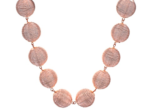Pink Metallic Textile Beads Rose Tone Statement Necklace