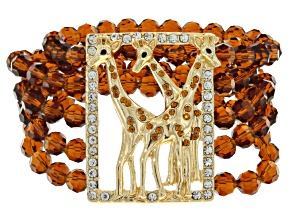 Multicolor Crystal Gold Tone Giraffe Stretch Bracelet