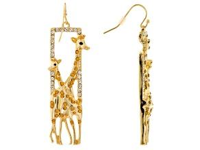 Multicolor Crystal Gold Tone Giraffe Dangle Earrings