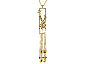 Multicolor Crystal Gold Tone Giraffe Necklace