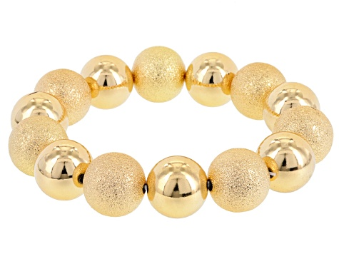 Gold Tone Beaded Stretch Bracelet