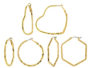 Gold Tone Hammered Hoop Earring Set Of 3
