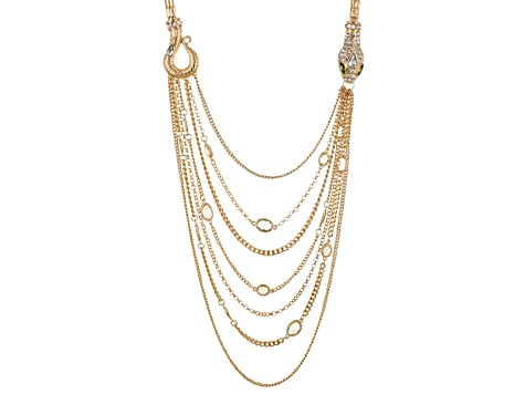 Multicolor Crystal Gold Tone Multi Chain Snake Necklace