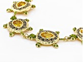 Multicolor Crystal Gold Tone Turtle Bracelet