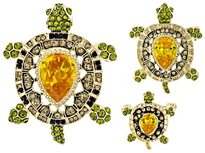 Multicolor Crystal Gold Tone Turtle Brooch Set Of 3