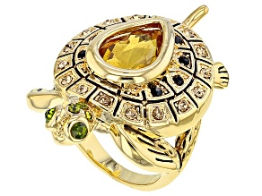 Multicolor Crystal Gold Tone Turtle Ring