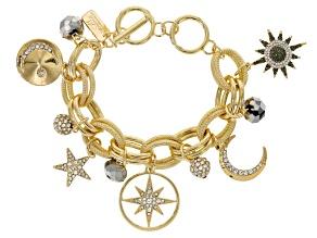 Multicolor Crystal Gold Tone Celestial Charm Bracelet
