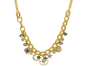 Multicolor Crystal Gold Tone Celestial Charm Necklace