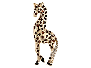 Multicolor Crystal Gold Tone Giraffe Brooch