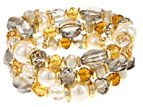 Multicolor Crystal Pearl Simulant Gold Tone Multi Row Bracelet