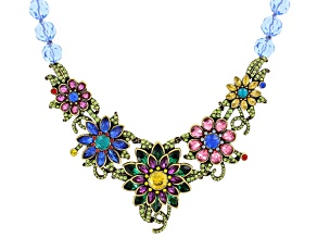 Multicolor Crystal Antiqued Gold Tone Floral Statement Necklace