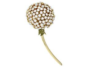 Multicolor Crystal Gold Tone Dandelion Brooch