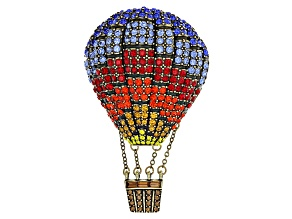 Multicolor Crystal Antiqued Gold Tone Hot Air Balloon Brooch
