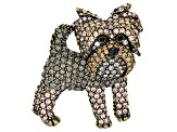 Multicolor Crystal Antiqued Gold Tone Yorkshire Terrier Brooch