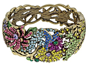 Multicolor Crystal Antiqued Gold Tone Floral Bracelet