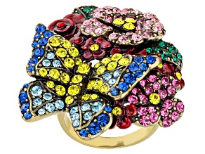 Multicolor Crystal Antiqued Gold Tone Floral Ring