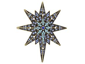 Multicolor Crystal Antiqued Gold Tone Star Brooch
