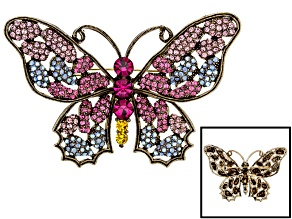 Multicolor Swarovski Elements ™ Antiqued Gold Tone Butterfly Brooch