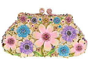 Multicolor Crystal Multicolor Enamel Gold Tone Floral Clutch