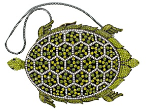 Multicolor Crystal Antiqued Gold Tone Turtle Clutch