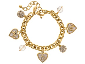 "White Crystal Gold Tone ""Mom"" Charm Bracelet"