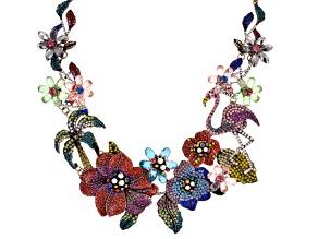 Multicolor Crystal Antiqued Gold Tone Floral Statement Necklace