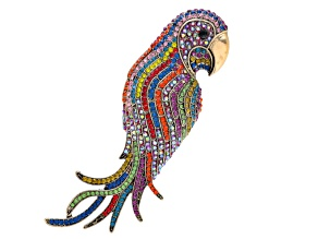 Multicolor Crystal Gold Tone Parrot Brooch