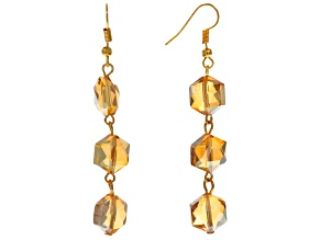 Champagne Crystal Gold Tone Dangle Earrings