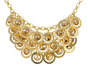Off Park ® Collection Champange Crystal Gold Tone Hammered Statement Necklace