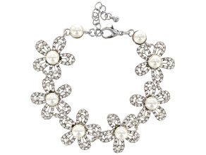 White Crystal Pearl Simulant Silver Tone Floral Bracelet
