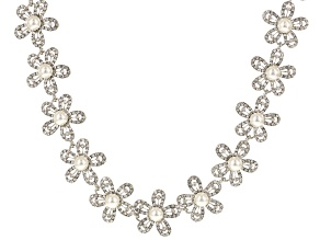 White Crystal Pearl Simulant Silver Tone Floral Statement Necklace
