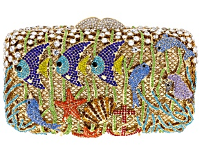 Multicolor Crystal Gold Tone Sea Life Clutch