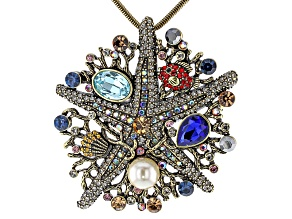 Multicolor Crystal Peal Simulant Sea Life Pin/Pendant With Chain