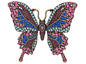 Multicolor Crystal Antiqued Gold Tone Butterfly Brooch