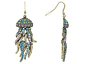 Multicolor Crystal Antiqued Gold Tone Jelly Fish Dangle Earrings