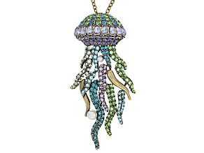 Multicolor Crystal Pearl Simulant Antiqued Gold Tone Jelly Fish Necklace