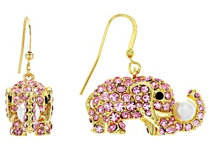 Off Park ® Collection Multicolor Crystal Pearl Simulant Gold Tone Elephant Dangle Earrings