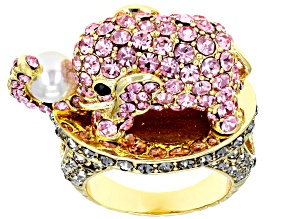 Off Park ® Collection Multicolor Crystal Pearl Simulant Gold Tone Elephant Ring
