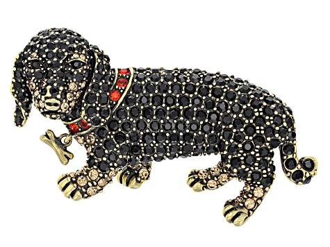 Multicolor Crystal Antiqued Gold Tone Dachshund Brooch
