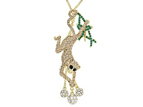 Multicolor Crystal Gold Tone Sliding Monkey Necklace