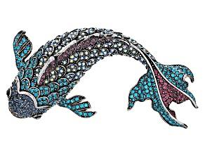 Multicolor Swarovski Elements ™ Antiqued Silver Tone Fish Brooch