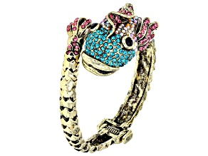 Multicolor Crystal Antiqued Gold Tone Fish Cuff Bracelet