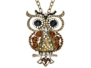 Multicolor Crystal Antiqued Gold Tone Owl Pendant With Chain