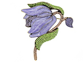 Multicolor Crystal Purple Enamel Antiqued Gold Tone Flower Brooch