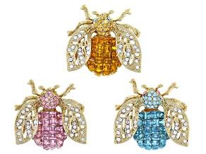 Multicolor Crystal Gold Tone Bug Brooch Set Of 3