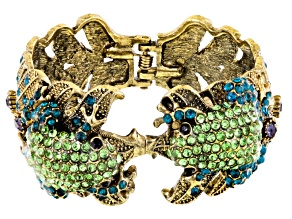 Multicolor Crystal Antiqued Gold Tone Frog Cuff Bracelet