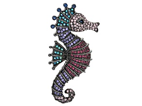 Multicolor Swarovski Elements ™ Gunmetal Tone Seahorse Brooch