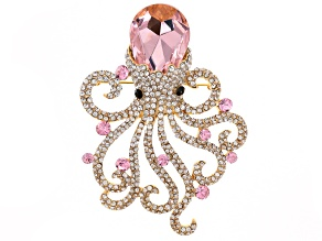 Multicolor Crystal Gold Tone Octopus Pin/Pendant